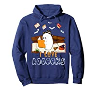 Halloween Day Cute Boo Love Books Tee Funny Librarian Gifts T Shirt Hoodie Navy