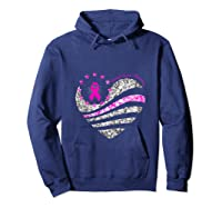 Funny Love Heart Breast Cancer Awareness Pink Ribbon Month Tank Top Shirts Hoodie Navy