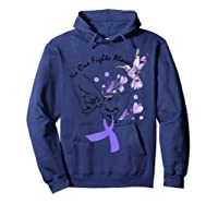 In This Family No One Fights Alone Funny Lupus Awareness T-shirt Hoodie Navy