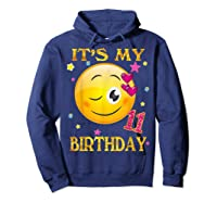 It's My 11th Birthday Girl 11 Years Old Gift Cute Face Shirts Hoodie Navy