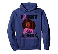 Fight Breast Cancer Awareness Month Shirt Black Girl Hoodie Navy