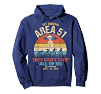 Area 51 5k Fun Run Shirt. Retro Style Funny Ufo, Alien T-shirt Hoodie Navy
