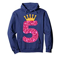 Happy Birthday Shirt, Girls 5th Party 5 Years Old Bday Hoodie Navy