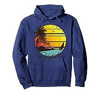 Florida Sunshine State Retro Summer Tropical Beach Shirts Hoodie Navy