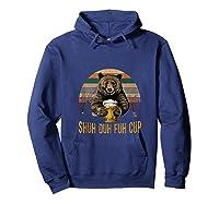 Shuh Duh Fuh Cup Bear Drinking Beer Camping Funny Tank Top Shirts Hoodie Navy
