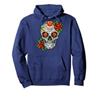 Dia De Los Muertos / Day Of The Dead Sugar Skull Graphic Raglan Baseball Ts Shirts Hoodie Navy