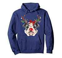Funny Bulldogs With Antlers Light Christmas Shirts Hoodie Navy