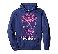 Breast Cancer Awareness Month Skull Halloween Shirts Hoodie Navy