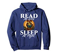Sleep All Day Read All Night Bookish Read A Book Day Owl T Shirt Hoodie Navy