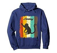 Monkey Shirt Retro 70s Vintage Animal Lover Art Design Tank Top Hoodie Navy
