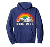 Vintage Retro Book Vibes Rainbow Gift For Reading Lovers T Shirt Hoodie Navy