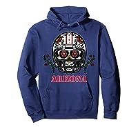 Arizona Football Helmet Sugar Skull Day Of The Dead T Shirt Hoodie Navy