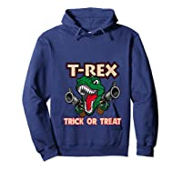 T Rex Arms Trick Or Treat Halloween Shirts Hoodie Navy