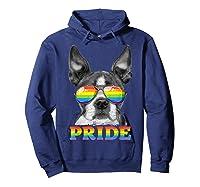 Boston Terrier Gay Pride Lgbt Rainbow Flag Sunglasses Lgbtq T-shirt Hoodie Navy