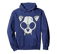 Spooky Cat Skull Halloween Creepy Horror Kitty Skeleton Face T Shirt Hoodie Navy