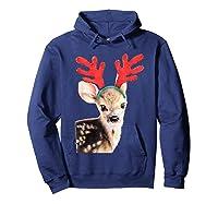 Cute Festive Fawn Wearing Reindeer Antlers Shirts Hoodie Navy