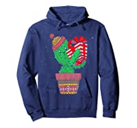 Cactus Christmas Tree Gift Santa Xmas Succulent Plant Lover T-shirt Hoodie Navy