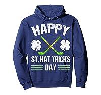 Saint Hattrick S Hockey St Patrick S Day Shamrock T Shirt Hoodie Navy