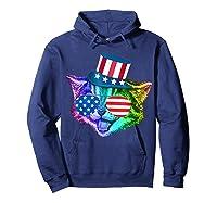 Ally Rainbow Cat Lesbian Gay Pride Gift America Flag Shirts Hoodie Navy
