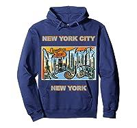 Lotta Shirts New York City Ny Postcard Greetings T Shirt Hoodie Navy