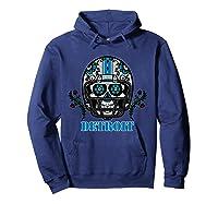 Detroit Football Helmet Sugar Skull Day Of The Dead T Shirt Hoodie Navy