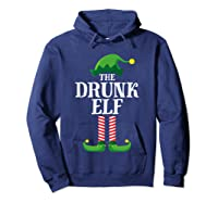 Drunk Elf Matching Family Group Christmas Party Pajama Shirts Hoodie Navy