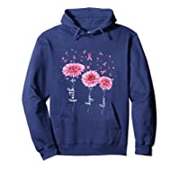 Faith Hope Love Pink Daisy Flower Breast Cancer Awareness T Shirt Hoodie Navy