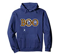 Boo Halloween With Spider Web And Bats Shirts Hoodie Navy