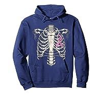 Skeleton Halloween Shirt Breast Cancer Awareness Month Tee Hoodie Navy