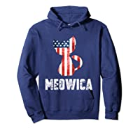 Patriotic 4th Of July Shirt Meowica American Flag Cat Lovers T-shirt Hoodie Navy