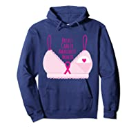 Breast Cancer Awareness Month Bra Annual Breast Check T Shirt Hoodie Navy
