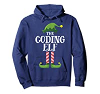 Coding Elf Matching Family Group Christmas Party Pajama Shirts Hoodie Navy