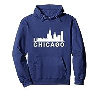 Chicago Illinois Skyline Gift City Skyline T Shirt Hoodie Navy