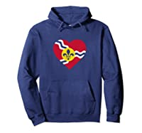I Heart St. Louis Distressed Stl State Flag T-shirt Hoodie Navy