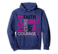 Pink Ribbon Breast Cancer Fighters Survivors Awareness Shirt T Shirt Hoodie Navy