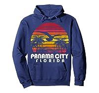 Vintage Retro Pa City Fl Florida Sunset Distressed Style T Shirt Hoodie Navy