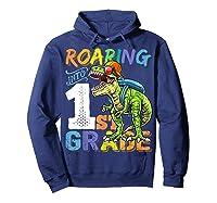 Roaring 1st Grade Dinosaur Back To School Backpack Shirt Boy Hoodie Navy