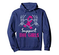 Support The Girls Boobs Hand Skeleton Breast Cancer Funny T Shirt Hoodie Navy