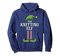 Knitting Elf Matching Family Group Christmas Party Pajama Shirts Hoodie Navy
