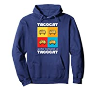 Funny Taco Cat Tacocat Mexican Hooded Shirts Hoodie Navy