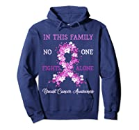 Family Support Breast Cancer Awareness Month Pink Ribbon Tee T Shirt Hoodie Navy