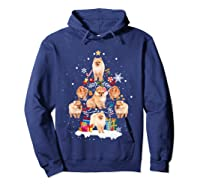 Pomeranian Christmas Tree Gift Xmas Holiday Shirts Hoodie Navy