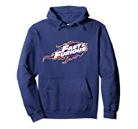 Fast Furious Purple And Orange Flames Logo Pullover Shirts Hoodie Navy