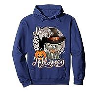 Happy Halloween Cute Cat In Witch Hat Pumpkin Spooky Novelty T Shirt Hoodie Navy