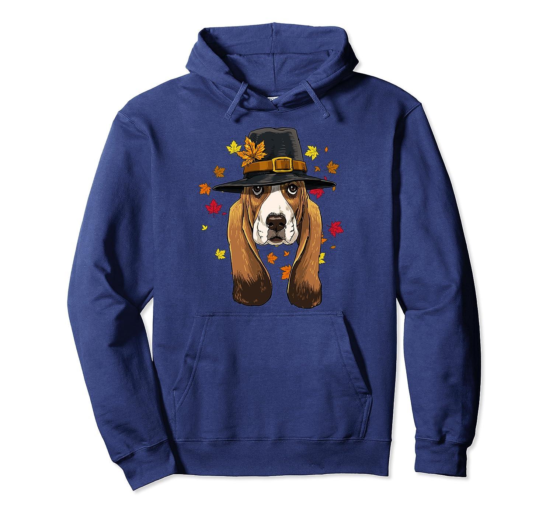 Thanksgiving Basset Hound Pilgrim Costume Men Women Pullover Hoodie