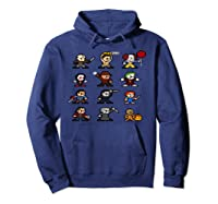 Friends Pixel Halloween Icons Scary Horror Movies Pullover Shirts Hoodie Navy
