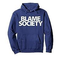 S Blame Society Urban Hip Hop T Shirt Hoodie Navy