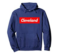 Cleveland Funny Red Box Logo Family First Last Name T-shirt Hoodie Navy