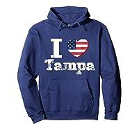 I Heart Love Tampa Patriotic Distressed Vintage T Shirt Hoodie Navy