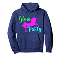 Colorful Glow Party 90's Unicorn Disco Style Dance Shirts Hoodie Navy